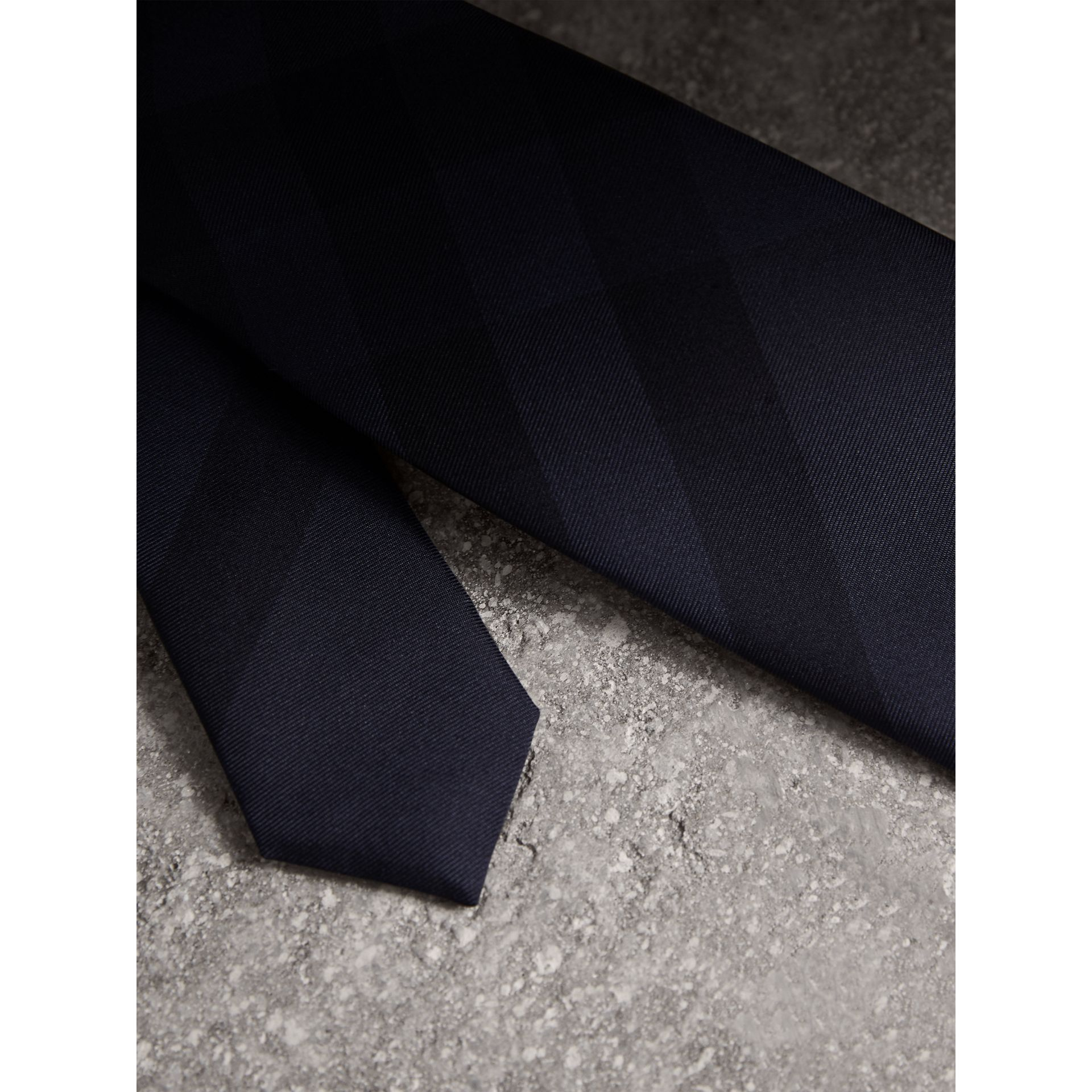 Slim Cut Check Silk Tie in Navy - Men | Burberry - gallery image 1