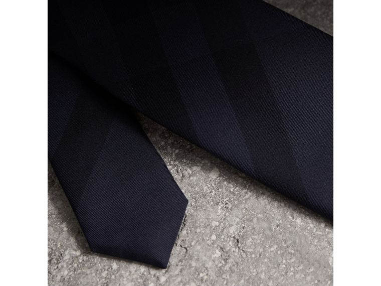 Slim Cut Check Silk Tie in Navy - Men | Burberry - cell image 1