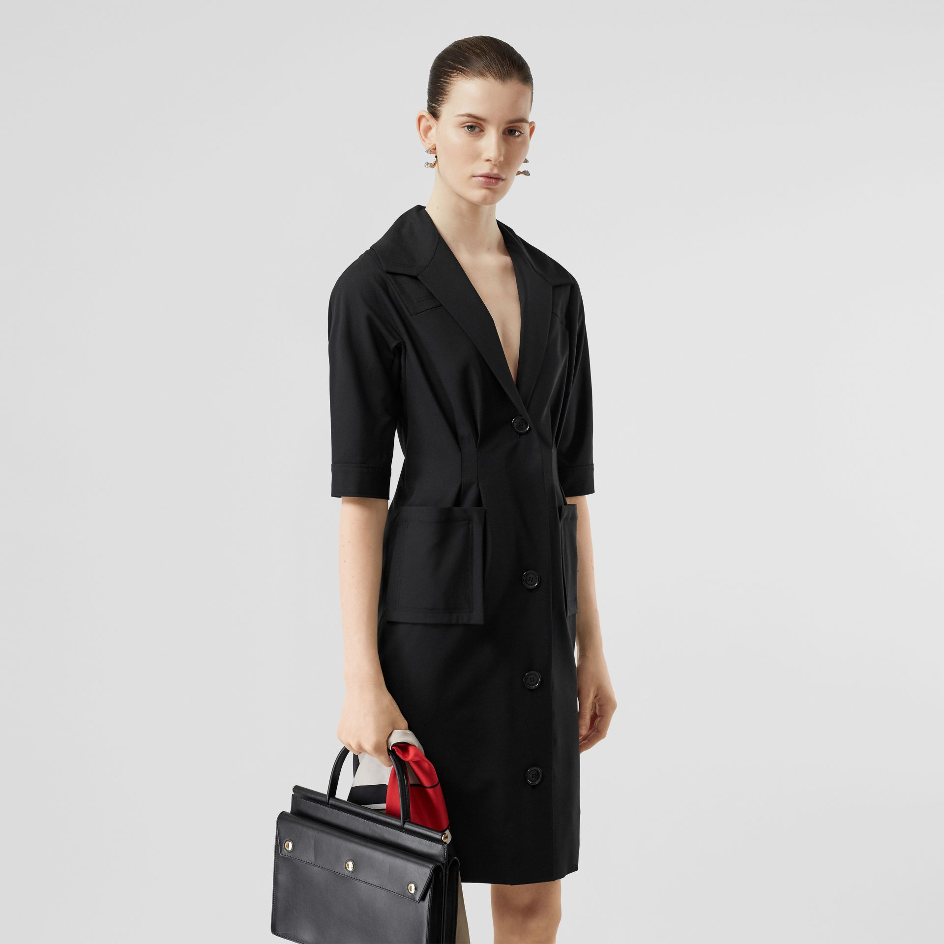 Short-sleeve Stretch Wool Dress in Black - Women | Burberry - gallery image 4