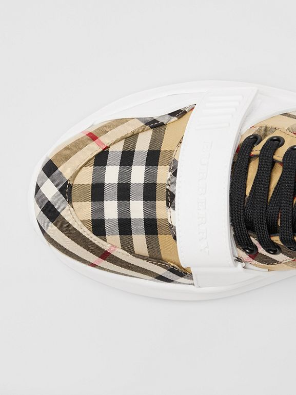 Vintage Check High-top Sneakers in Antique Yel/optc Wht - Men | Burberry United Kingdom - cell image 1