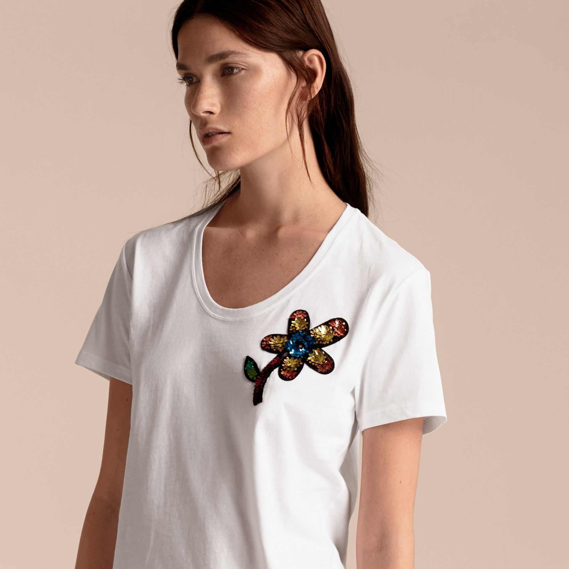White Sequin Floral Appliqué Cotton T-Shirt White - gallery image 6