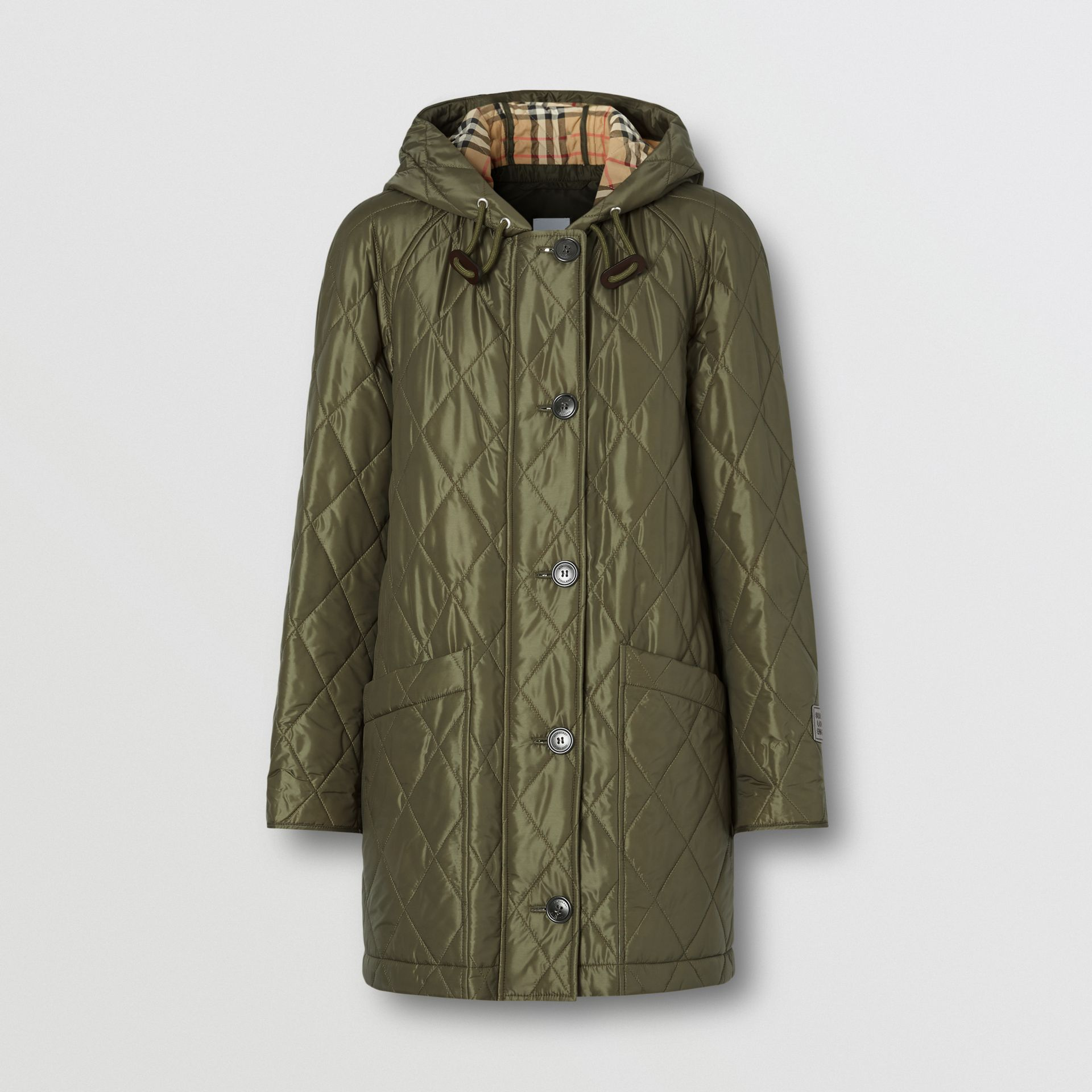 Diamond Quilted Hooded Coat in Cadet Green - Women | Burberry - gallery image 3