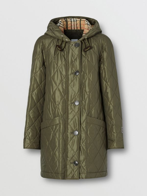 Diamond Quilted Hooded Coat in Cadet Green - Women | Burberry - cell image 3
