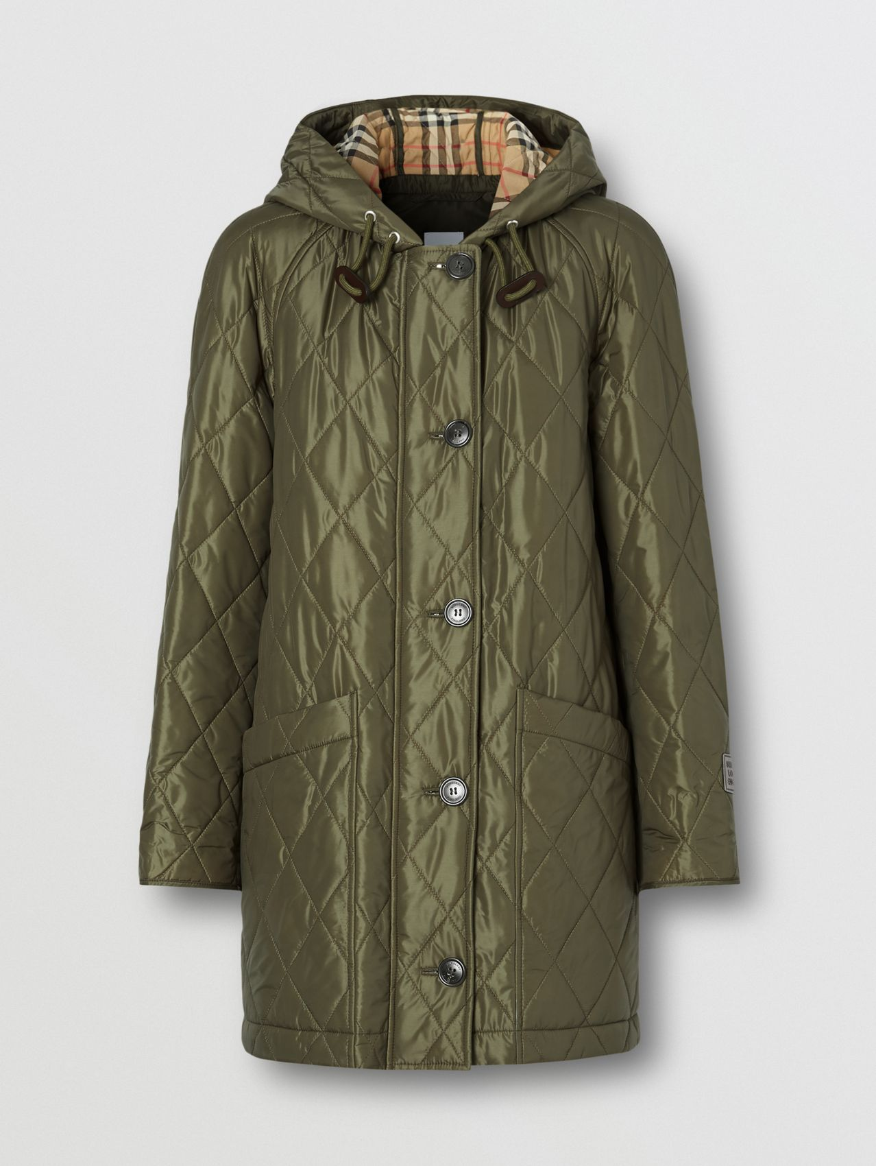 Diamond Quilted Hooded Coat in Cadet Green