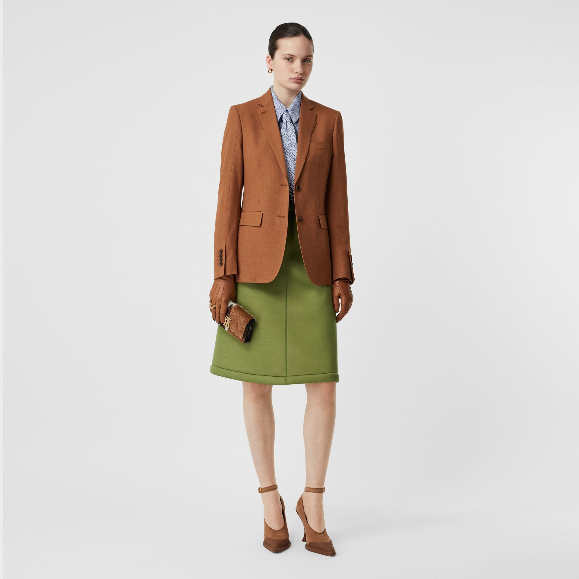 Wool, Silk and Cotton Blazer in Rust - Women | Burberry - gallery image 0