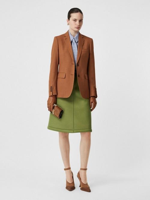 Burberry Wool, Silk And Cotton Blazer In Rust