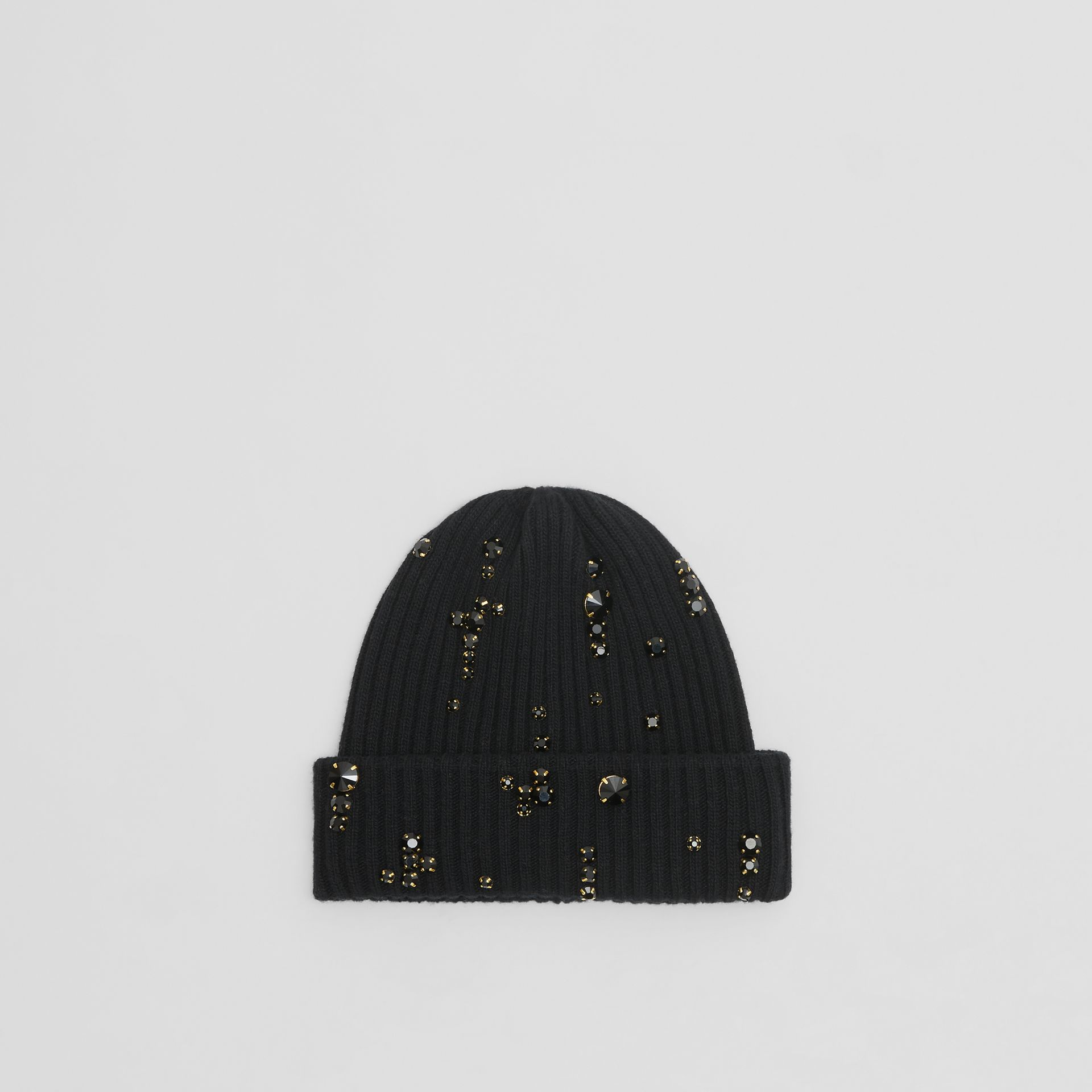 Embellished Rib Knit Wool Beanie in Black | Burberry Hong Kong S.A.R - gallery image 4