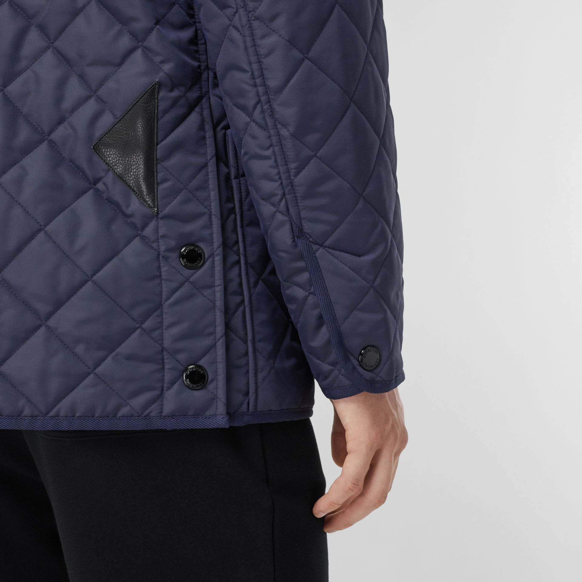 Diamond Quilted Thermoregulated Barn Jacket in Navy - Men | Burberry United Kingdom - gallery image 1