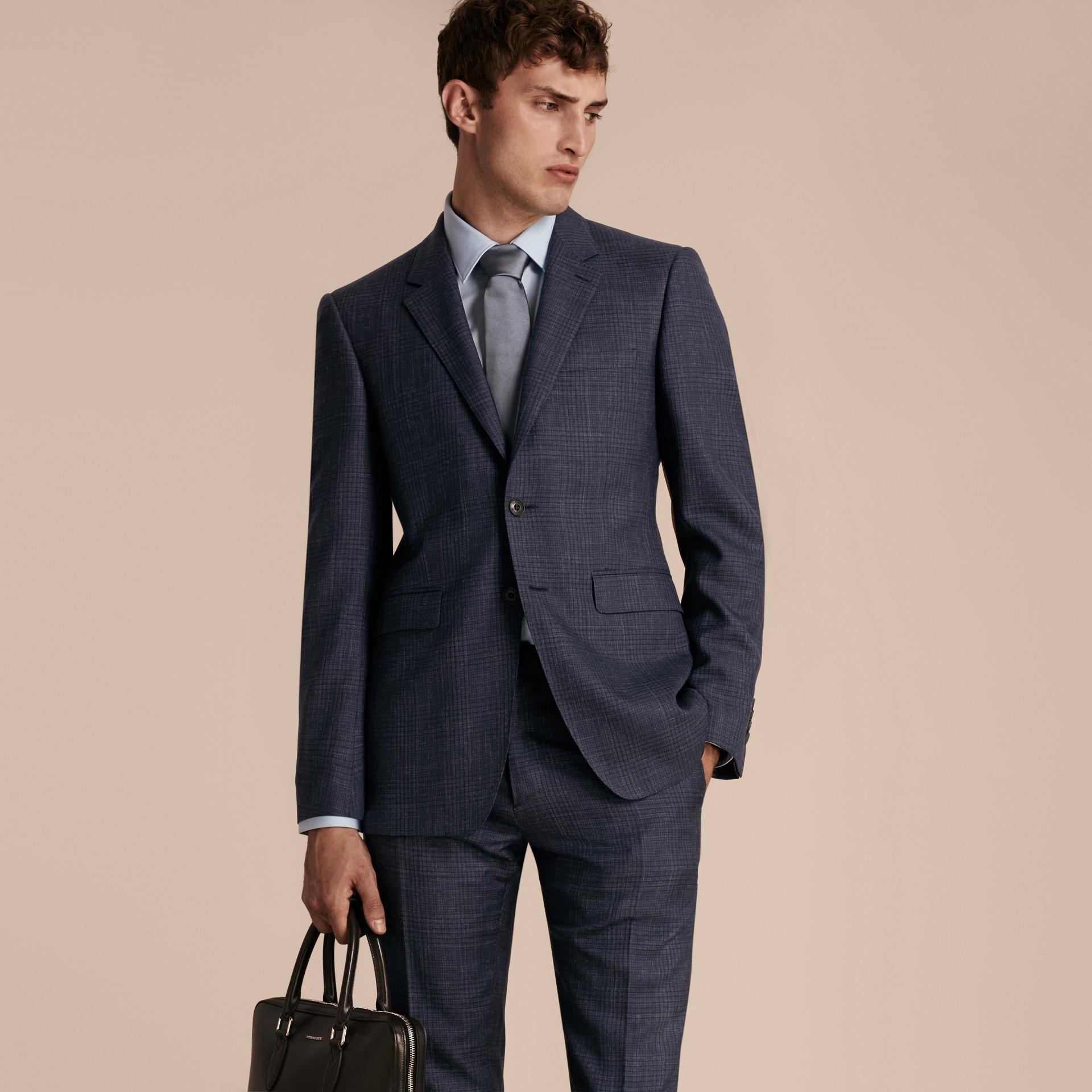 Modern Fit Wool Silk Blend Half-canvas Suit - gallery image 8