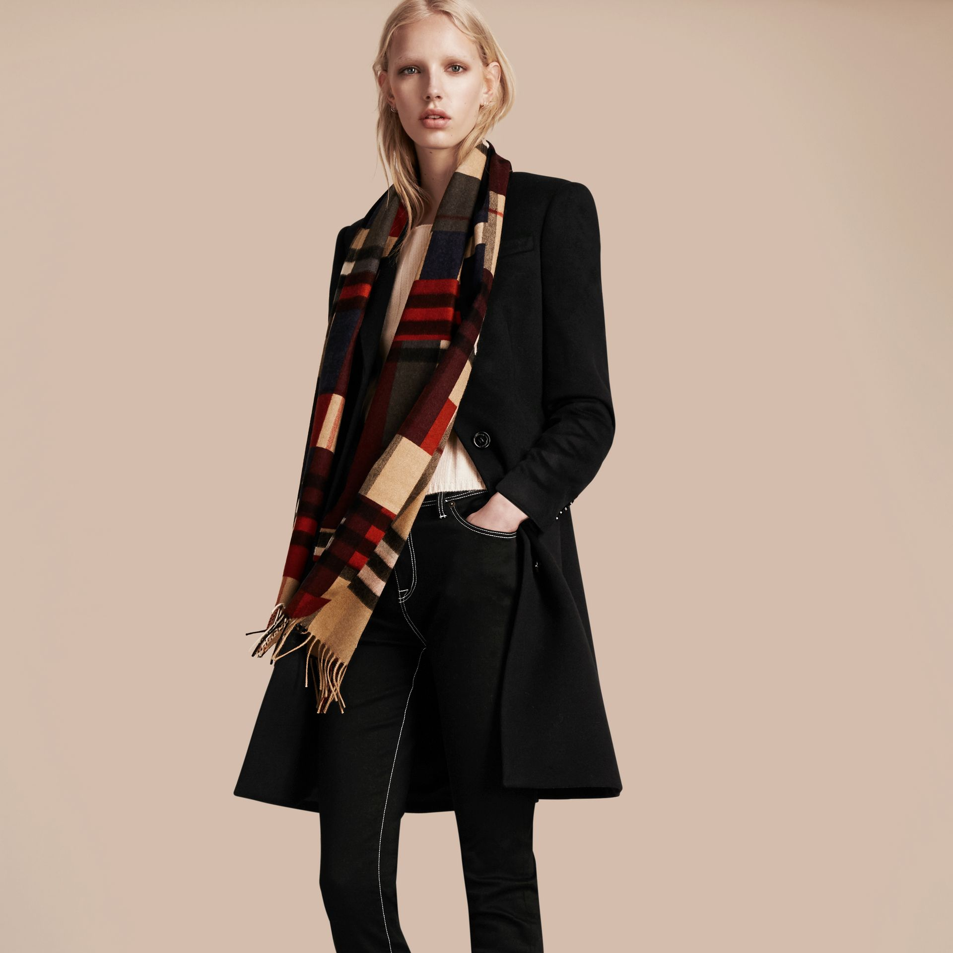 Parade red The Classic Cashmere Scarf in Colour Block Check - gallery image 3