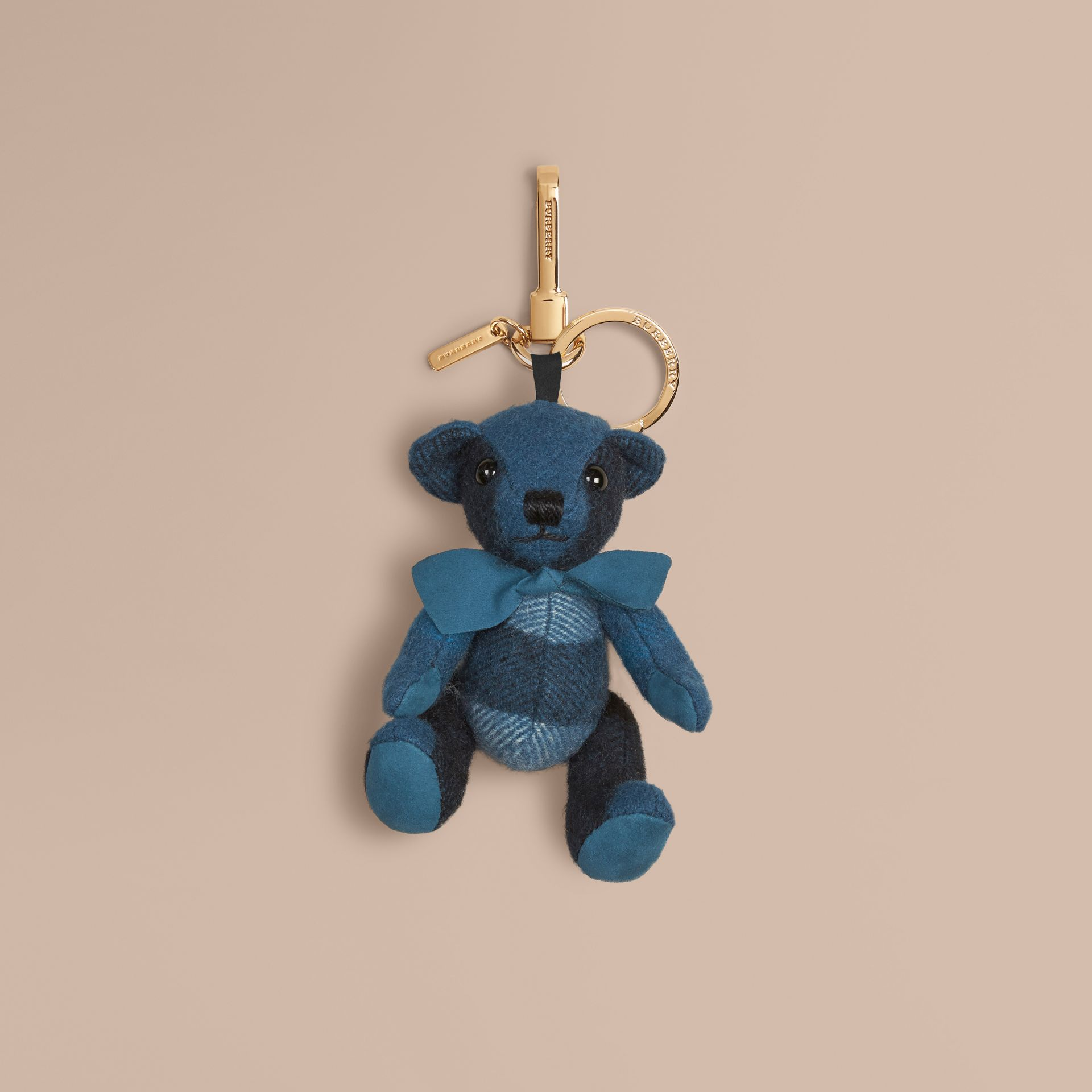 Ciondolo orsetto Thomas in cashmere con motivo tartan Acqua Scuro - immagine della galleria 1