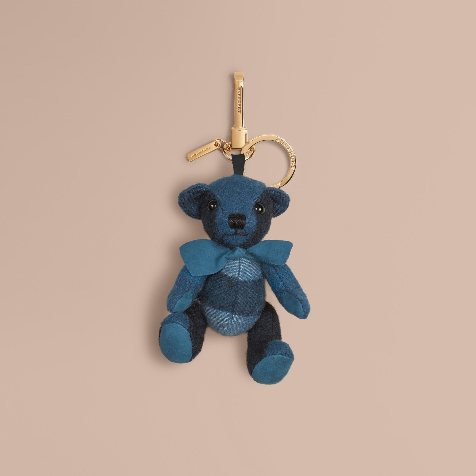 Teddybär-Anhänger aus Kaschmir mit Karomuster Dunkles Aquamarin - Galerie-Bild 1