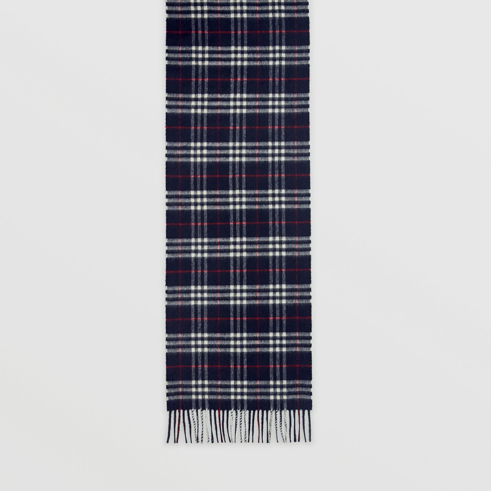 Check Cashmere Scarf in Navy | Burberry United Kingdom - gallery image 6