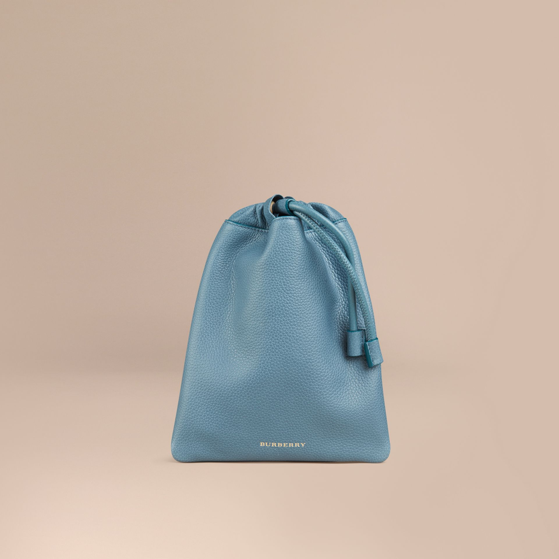 Dusty teal Grainy Leather Drawstring Pouch Dusty Teal - gallery image 1