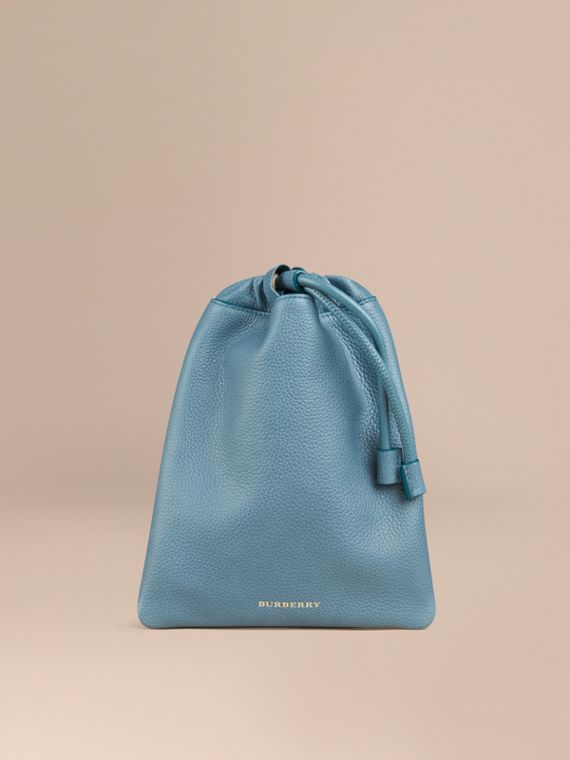Grainy Leather Drawstring Pouch Dusty Teal