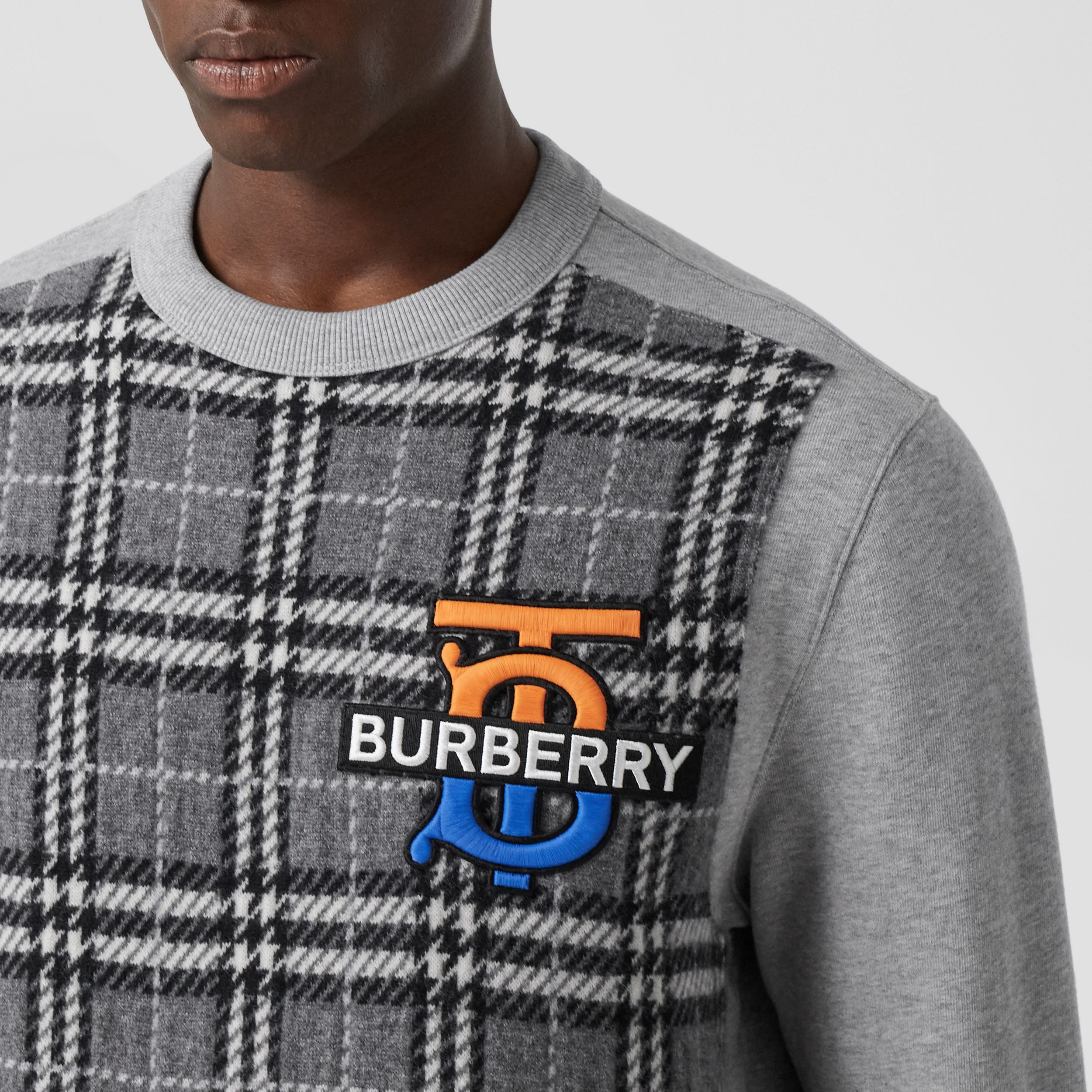 Monogram Motif Check Cashmere Panel Sweatshirt in Pale Grey Melange - Men | Burberry - 2