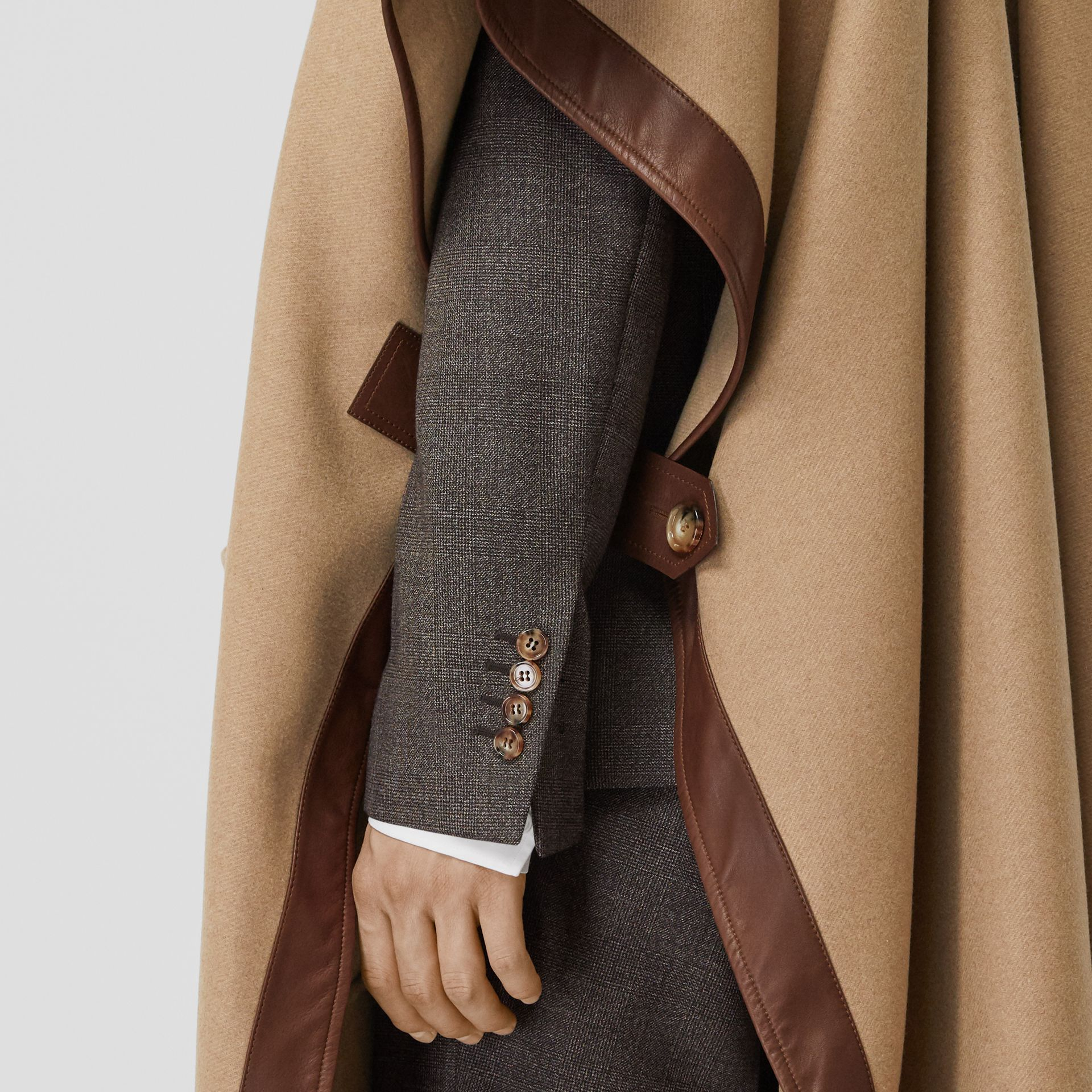 Lambskin Trim Double-faced Cashmere Cape in Camel | Burberry United Kingdom - gallery image 10