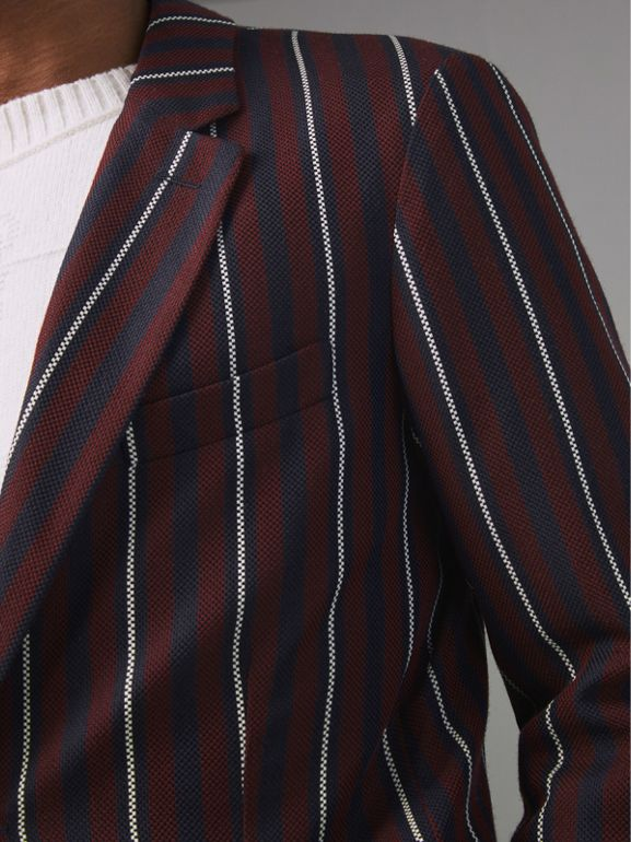 Slim Fit Striped Wool Silk Blazer in Burgundy - Men | Burberry - cell image 1