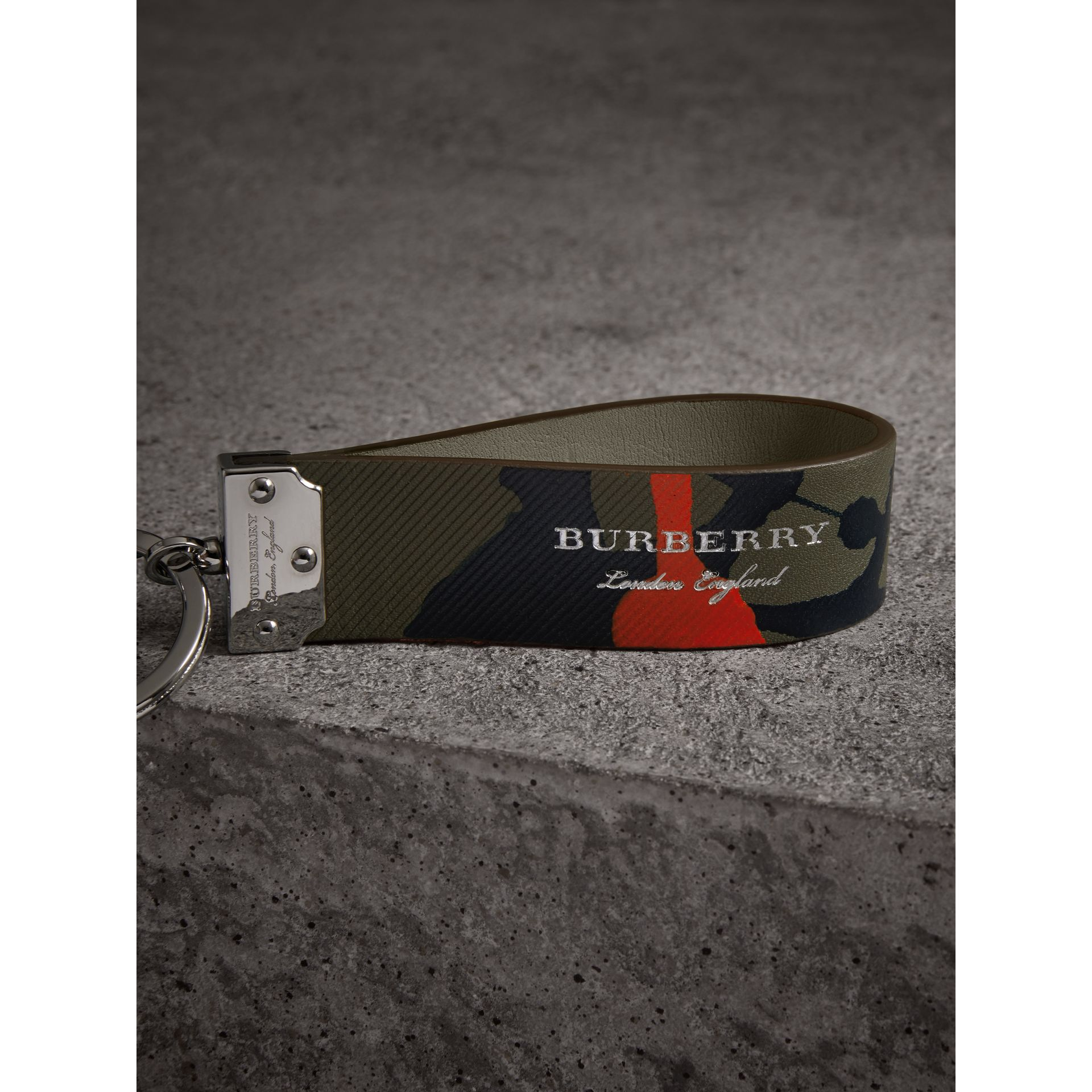 Splash Trench Leather Key Ring in Slate Green/splash - Men | Burberry - gallery image 1