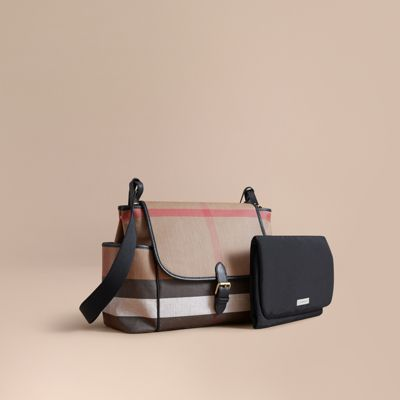 Canvas Check And Leather Baby Changing Shoulder Bag by Burberry