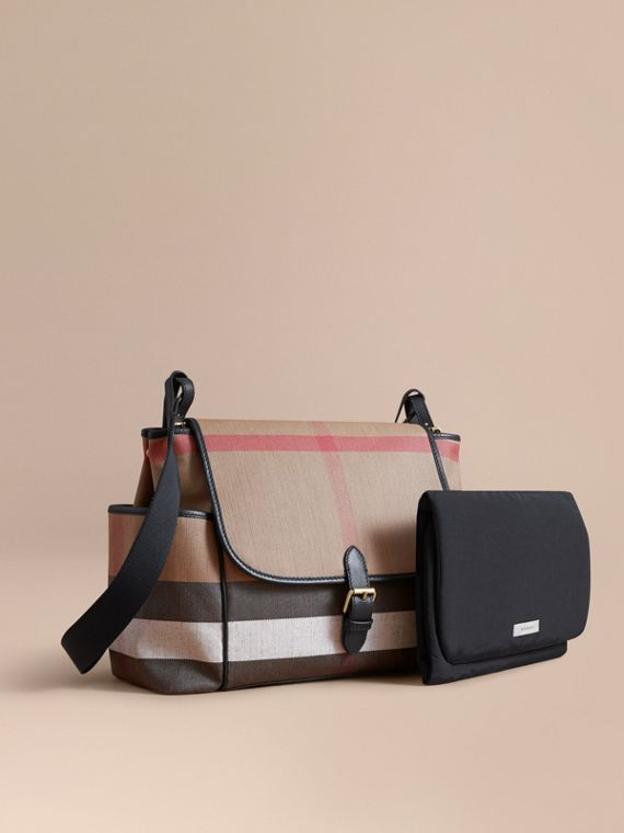 Canvas Check and Leather Baby Changing Shoulder Bag in Black