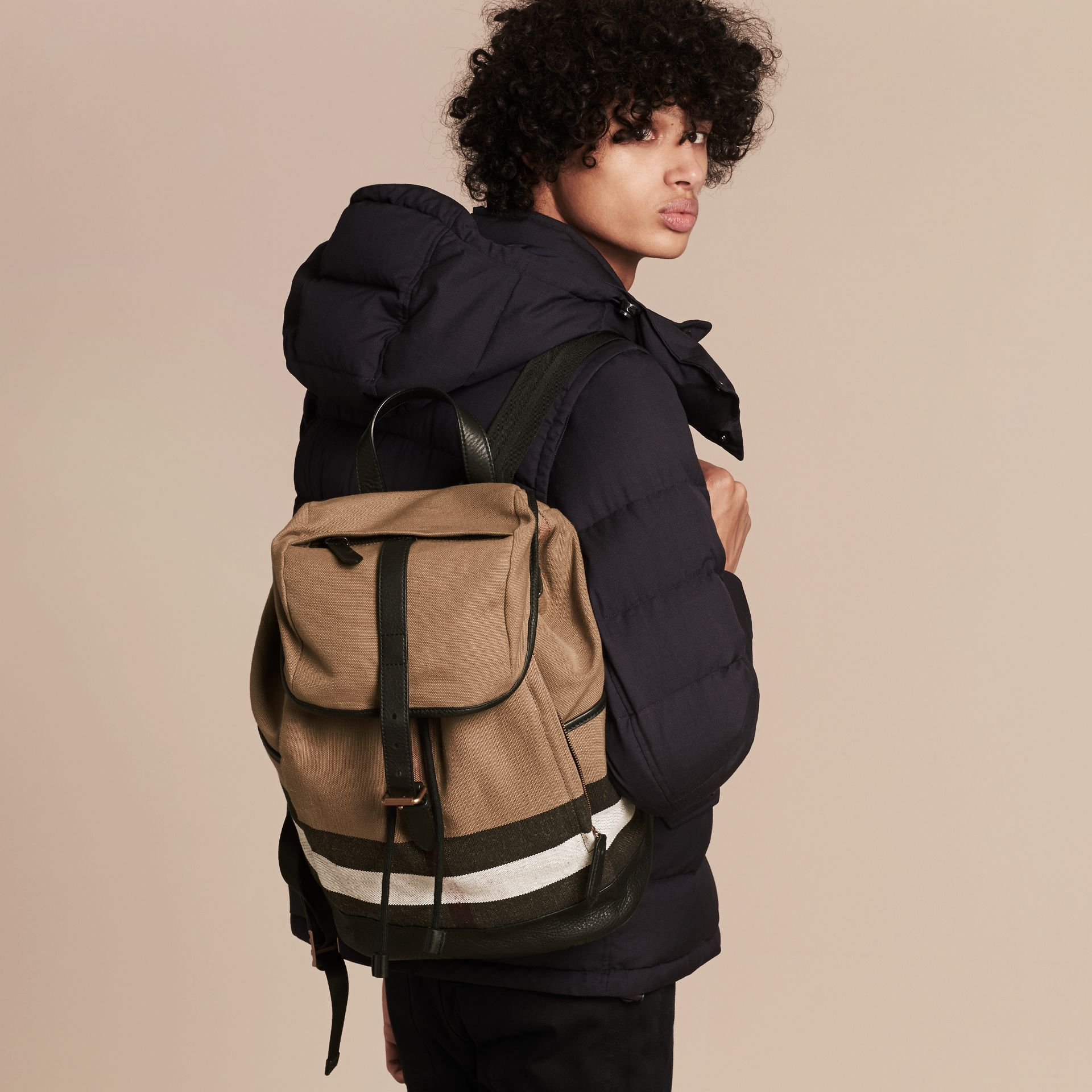 Camel Canvas Check Backpack - gallery image 3