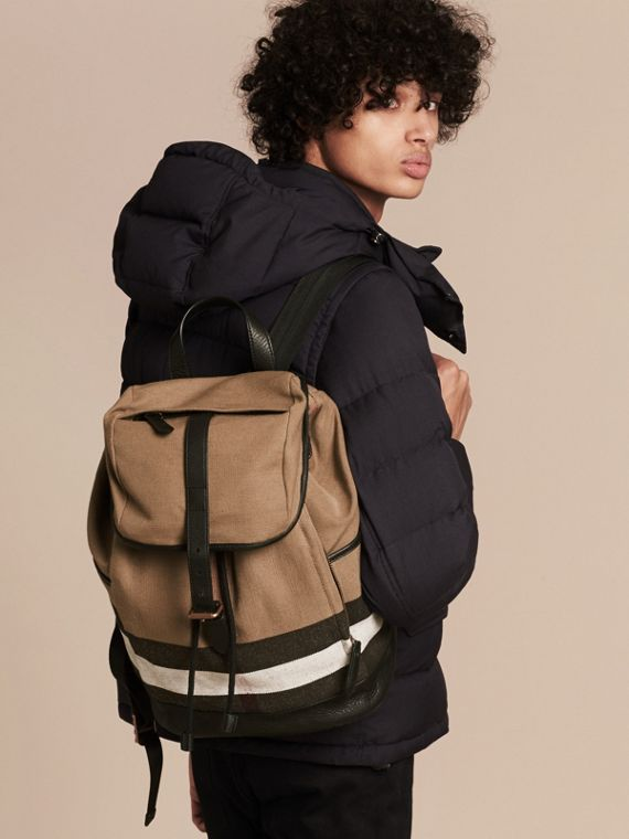 Camel Canvas Check Backpack - cell image 2