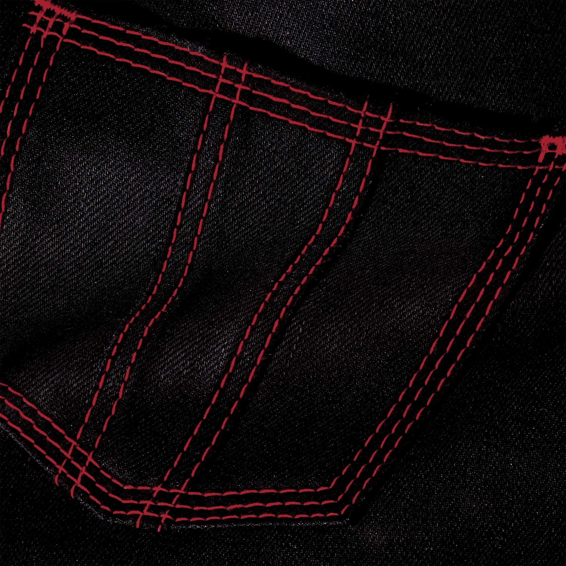 Black Skinny Fit Cropped Jeans with Topstitch Detail - gallery image 2