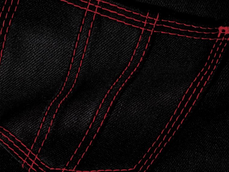 Black Skinny Fit Cropped Jeans with Topstitch Detail - cell image 1