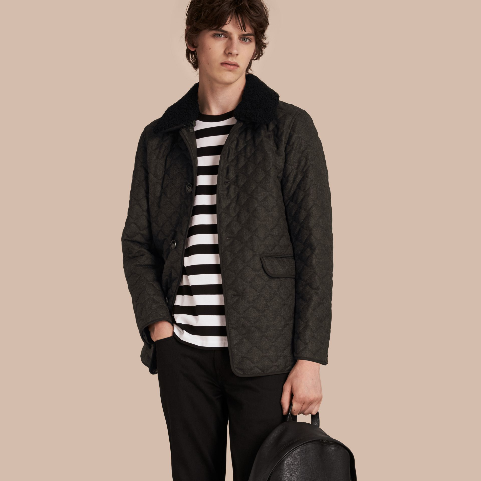 Dark grey melange Quilted Wool Flannel Jacket with Detachable Shearling Collar - gallery image 1