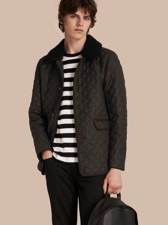 Quilted Wool Flannel Jacket with Detachable Shearling Collar