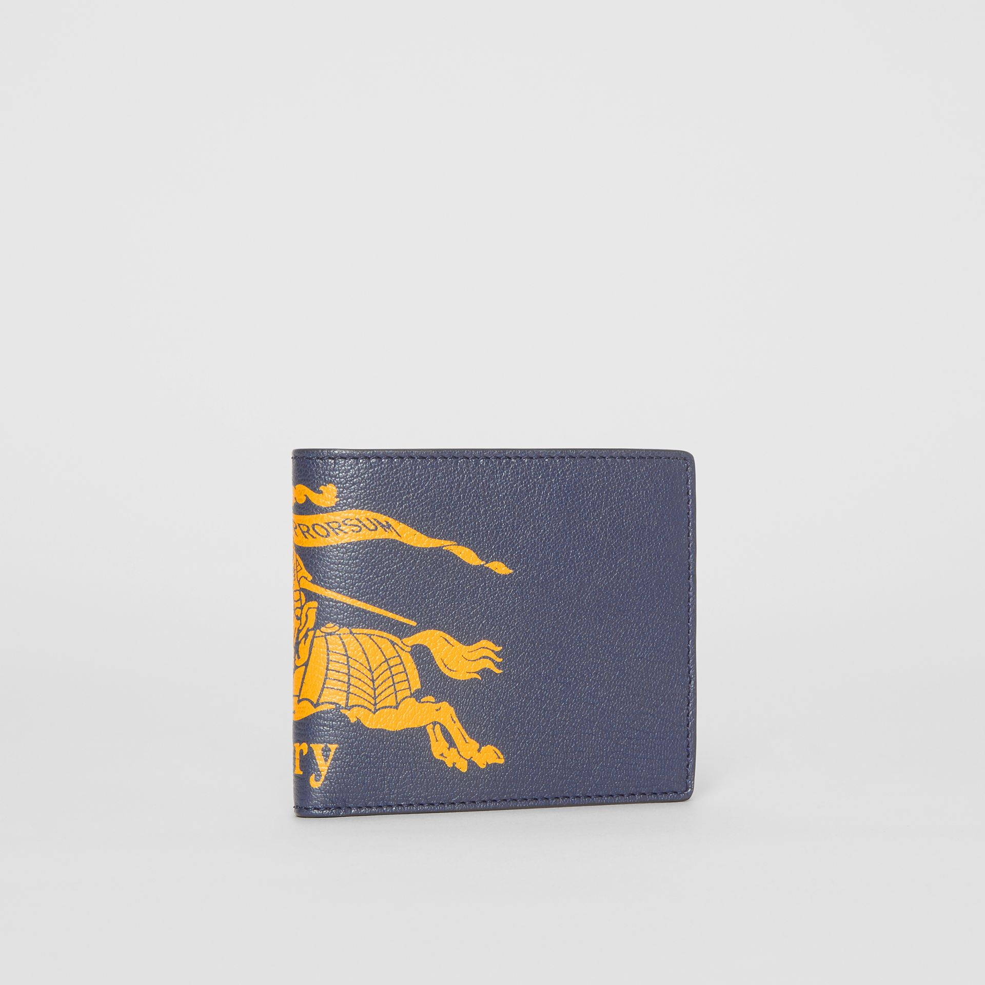 Contrast Logo Leather International Bifold Wallet in Storm Blue - Men | Burberry - gallery image 3