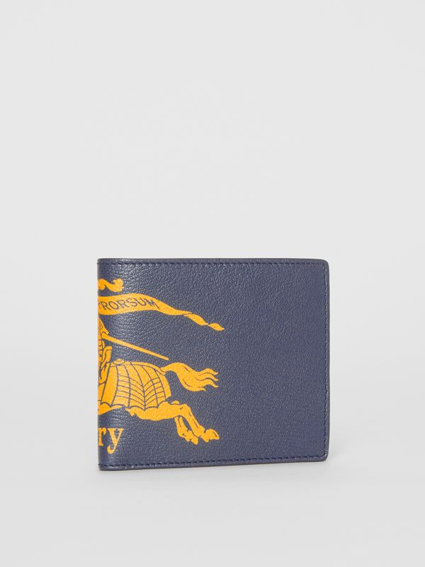 Contrast Logo Leather International Bifold Wallet in Storm Blue - Men | Burberry - cell image 3