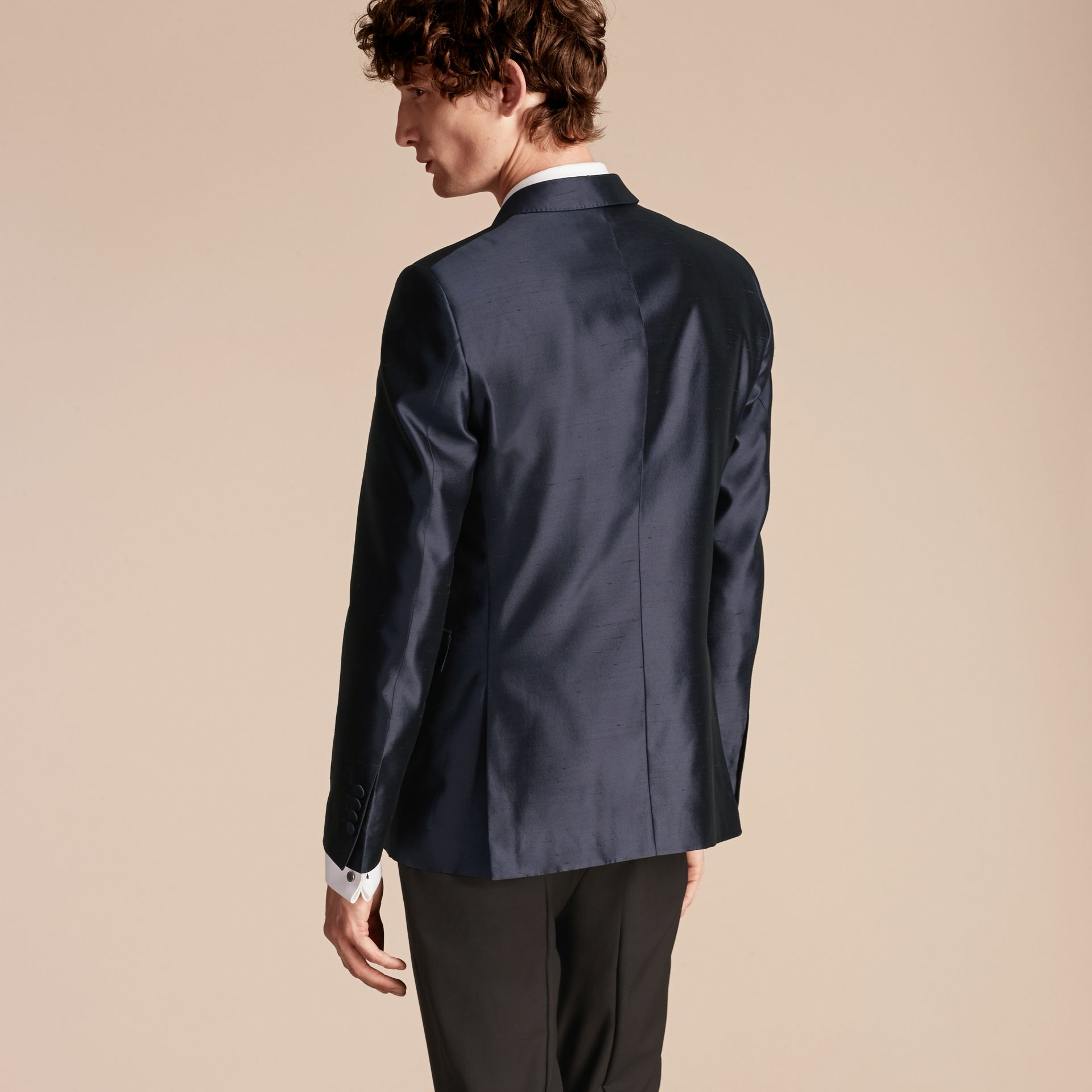 Ink Slim Fit Tailored Silk Jacket - gallery image 3