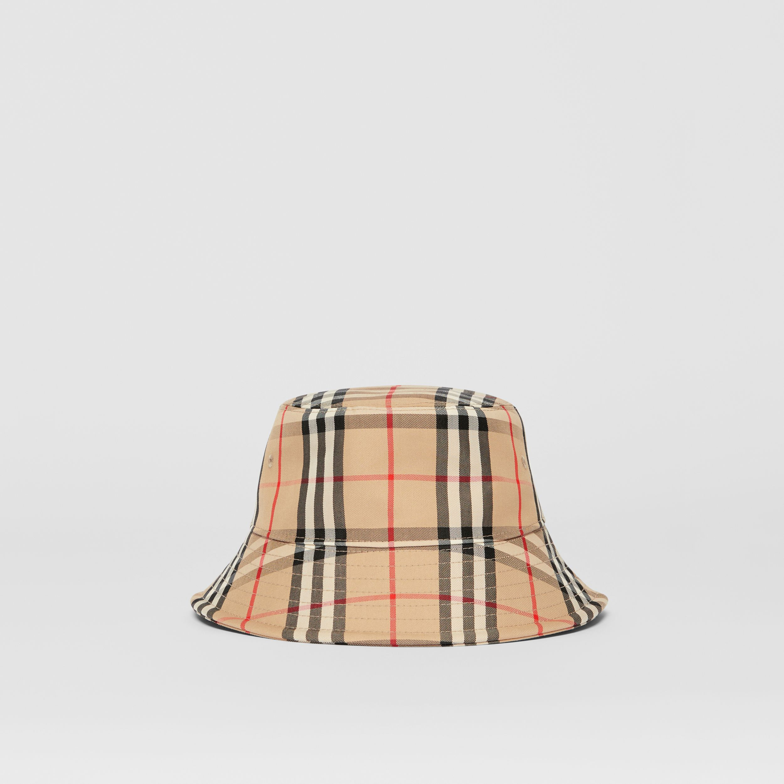 Vintage Check Cotton Blend Bucket Hat in Archive Beige | Burberry - 1