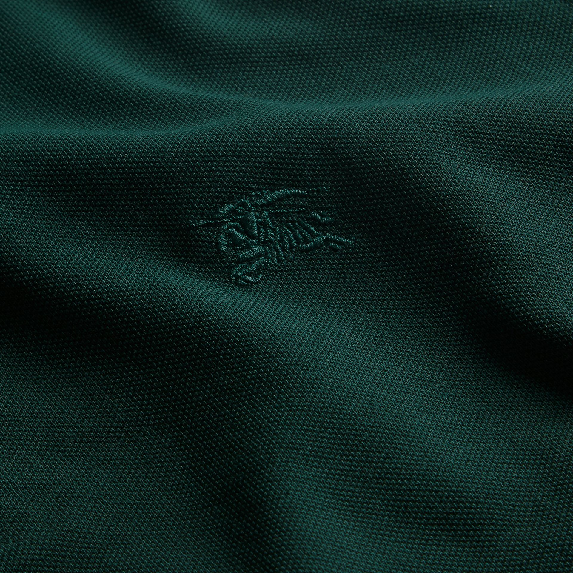 Racing green Check Placket Long Sleeve Polo Shirt Racing Green - gallery image 2