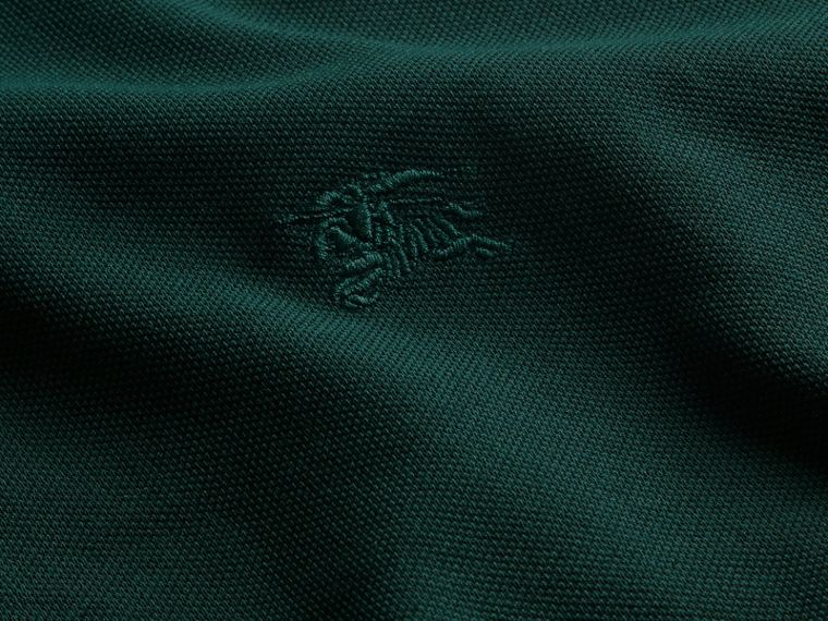 Racing green Check Placket Long Sleeve Polo Shirt Racing Green - cell image 1