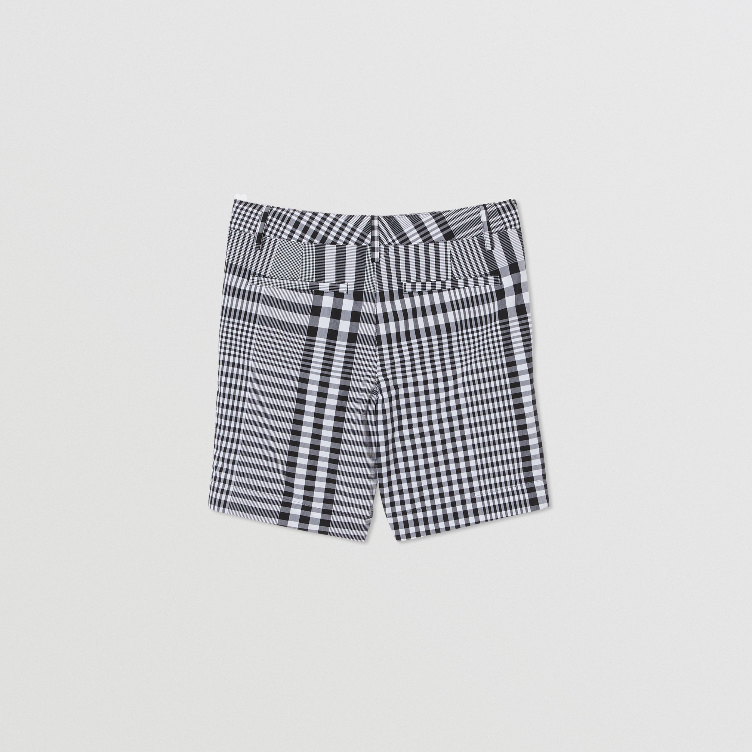 Check Cotton Poplin Tailored Shorts in Black/white | Burberry - 4