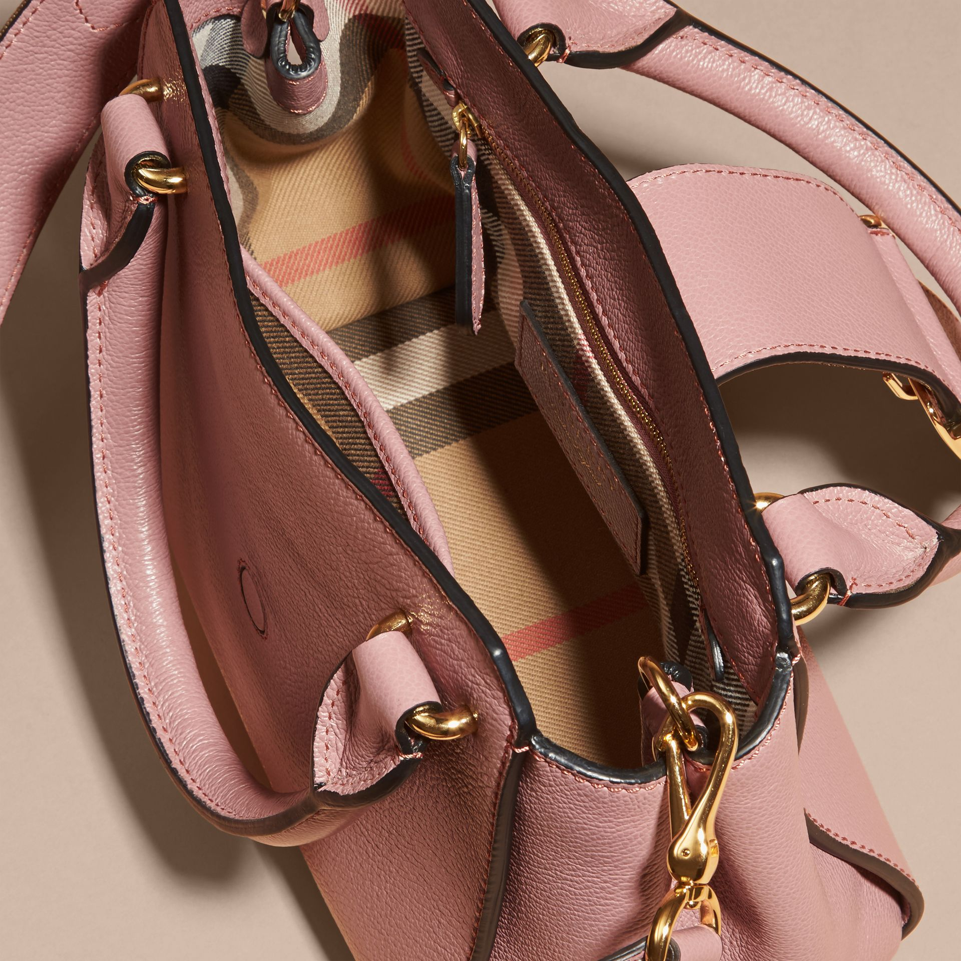 The Small Buckle Tote in Grainy Leather Dusty Pink - gallery image 6