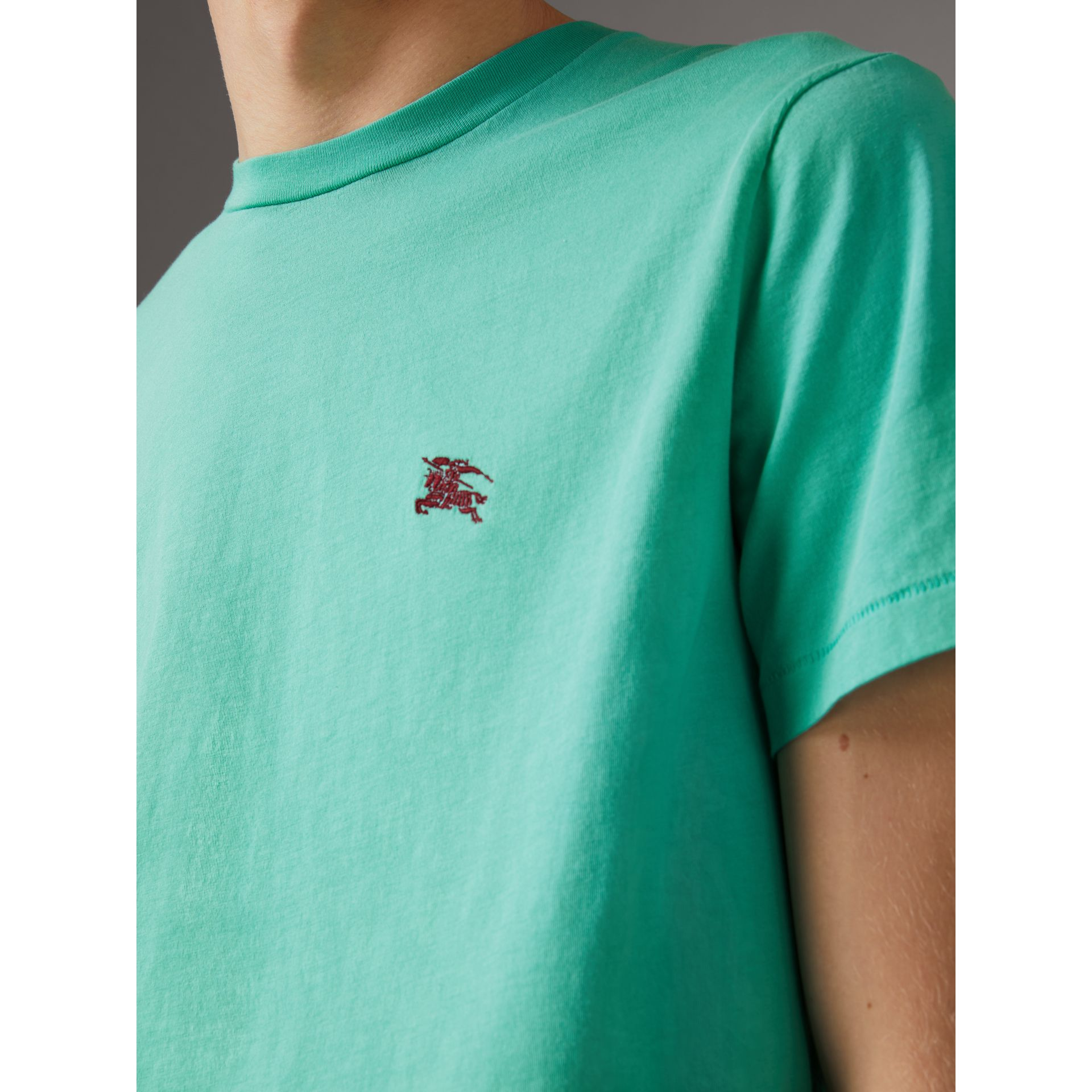 Cotton Jersey T-shirt in Turquoise - Men | Burberry United Kingdom - gallery image 1