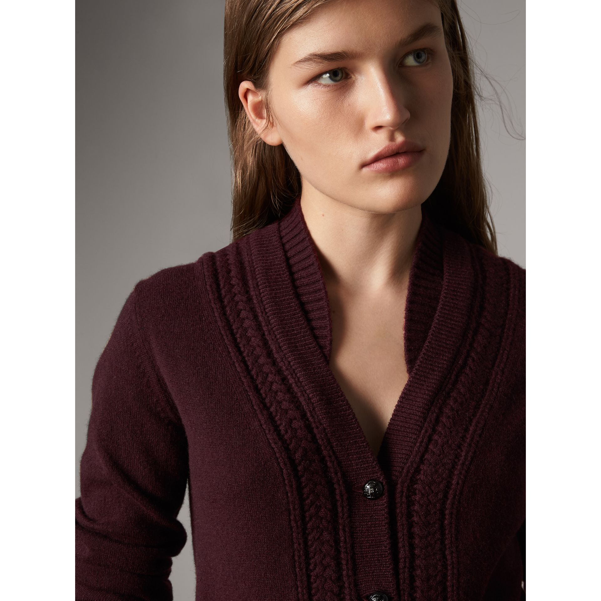 Cable Knit Detail Cashmere Cardigan in Deep Claret - Women | Burberry - gallery image 2
