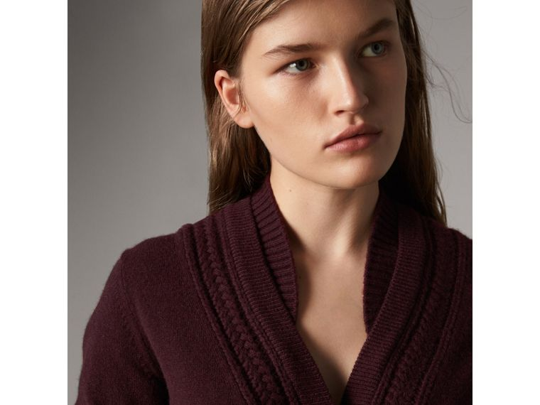 Cable Knit Detail Cashmere Cardigan in Deep Claret - Women | Burberry - cell image 1