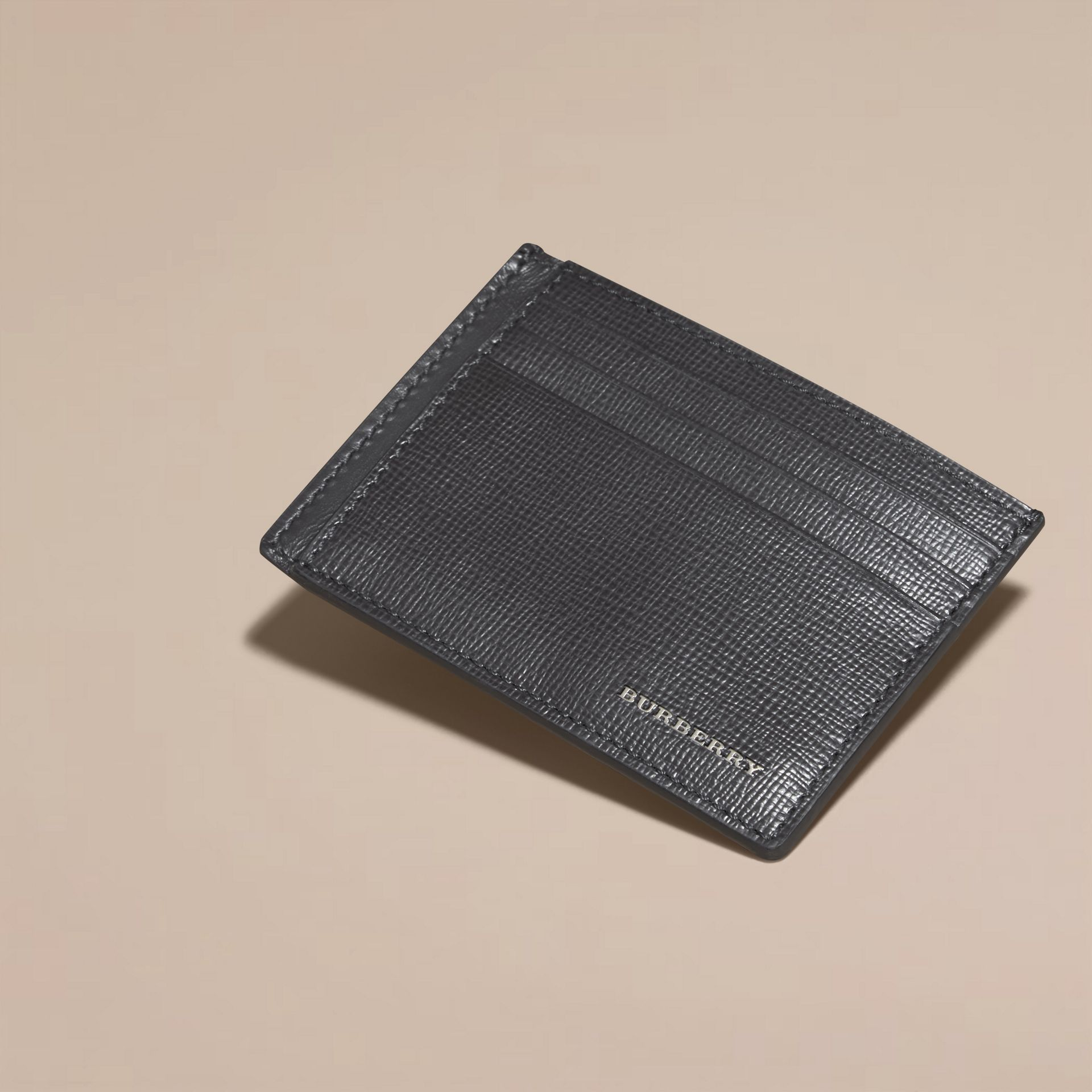 Charcoal London Leather Card Case Charcoal - gallery image 3