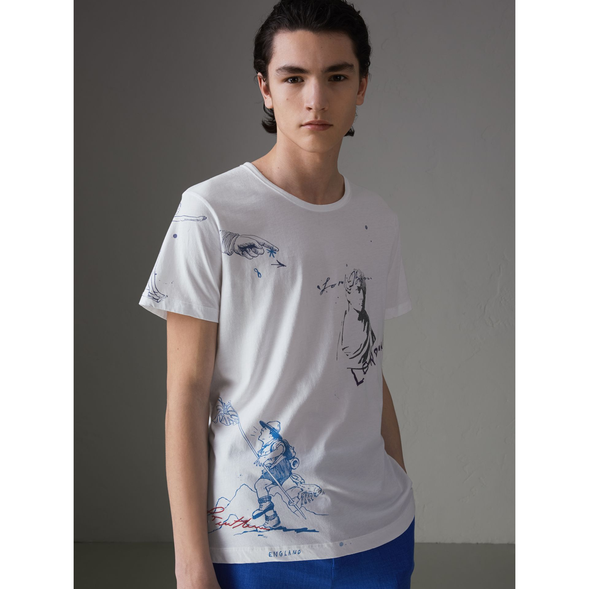 Sketch Print Cotton T-shirt in White - Men | Burberry Hong Kong - gallery image 4