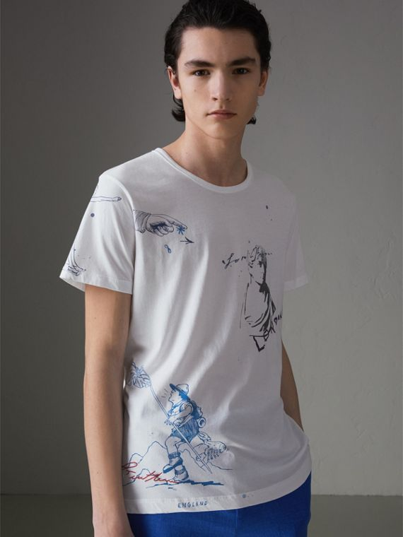 Sketch Print Cotton T-shirt in White