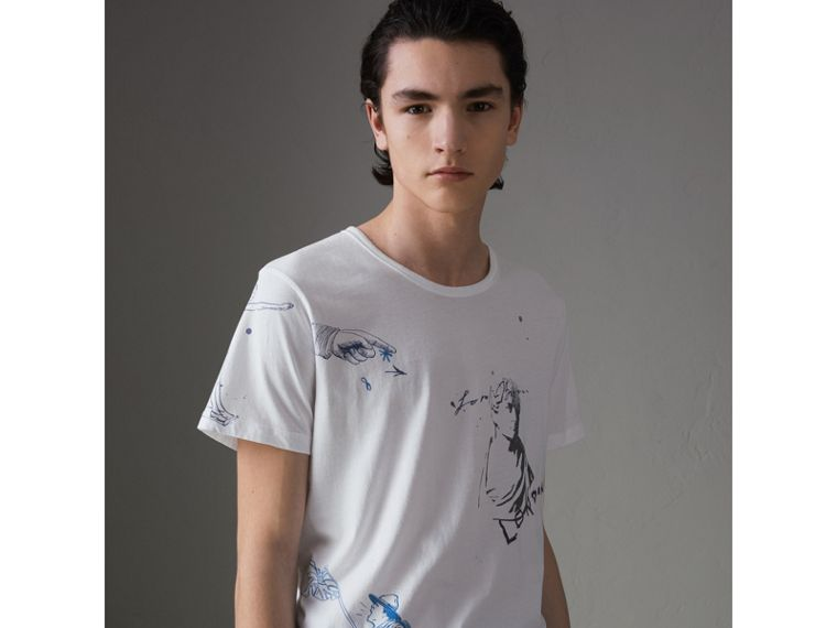 Sketch Print Cotton T-shirt in White - Men | Burberry - cell image 4