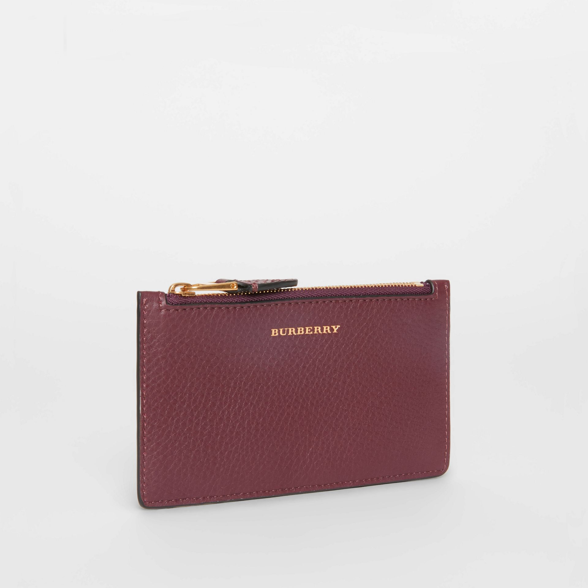 Two-tone Leather Zip Card Case in Deep Claret | Burberry - gallery image 3