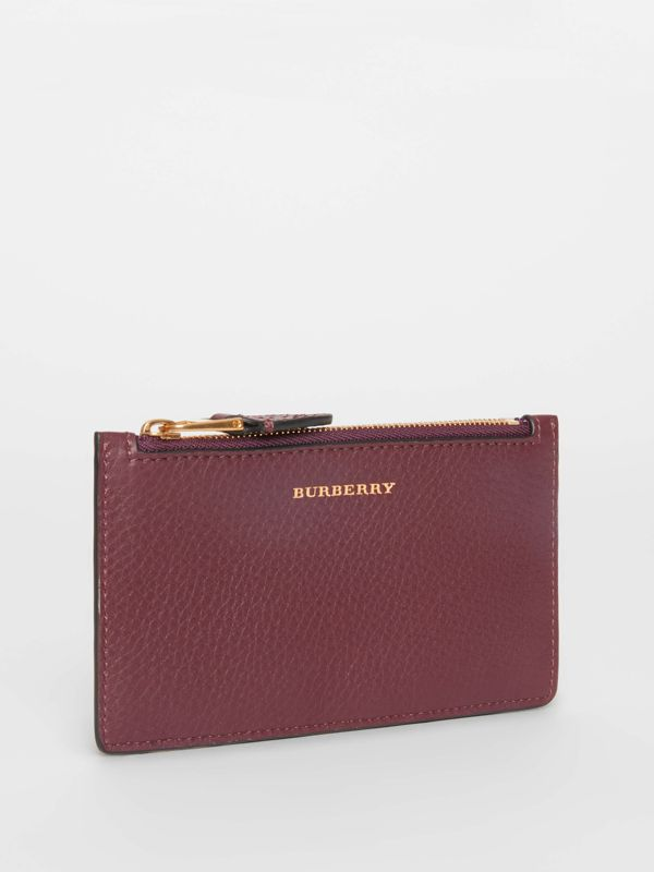 Two-tone Leather Zip Card Case in Deep Claret | Burberry - cell image 3