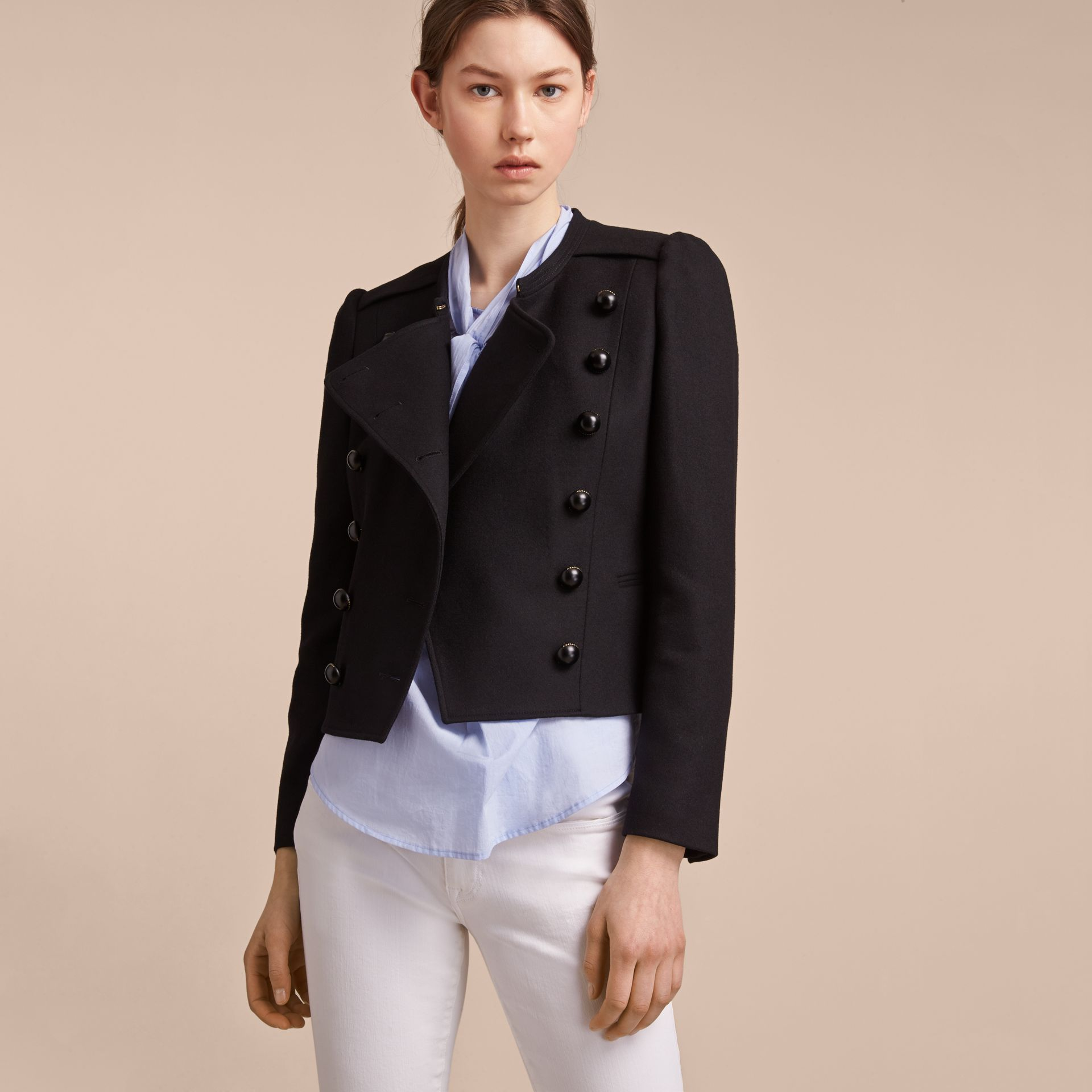 Wool Blend Double-breasted Jacket in Black - Women | Burberry - gallery image 6