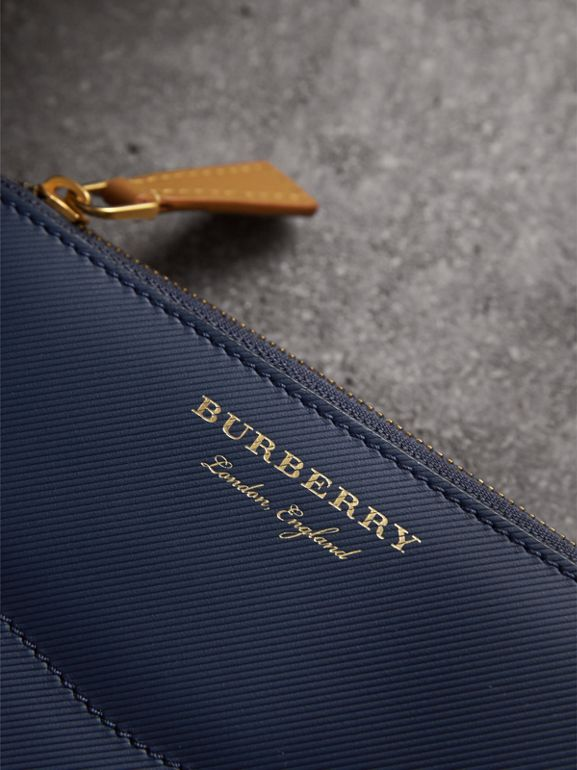 Two-tone Trench Leather Ziparound Wallet in Ink Blue/ochre Yellow - Women | Burberry - cell image 1
